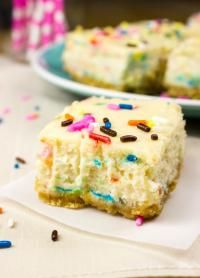 Funfetti Cheesecake Squares on MyRecipeMagic.com So Yummy.