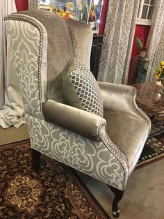 PAIR of Custom Upholstered Wing Back Chairs Available Now. These chairs have…