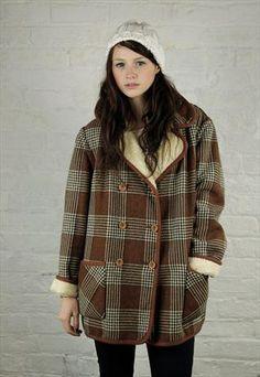 Vintage Reversible Tartan Wool & Faux Sheepskin Coat £55.00 wantwantwant