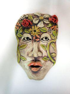 En el huerto de mi mente de cerámica de pared https://www.etsy.com/listing/103201263/in-the-garden-of-my-mind-ceramic-mask arte: