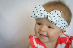 White with Black Polka Dots Cotton Knit Large Baby Bow Headband - Newborn, Infant, and Toddler Sizes! Great for Spring and Easter!