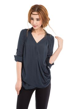 KL030T Tee/Womens Clothing Women Shirt Women Blouse Plus Size Petite Maternity Casual Shirt Blouse Silk Cotton Long Sleeve Dark Blue Top KelansArtCouture