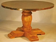 """Hand Hammered Copper Dining Table - Wood Pedestal Base #3 - Copper Shown with Verde Finish -  Item #DT00213 - 42"""", 48"""", 54"""" & 60"""" Round Available - Almost Any Copper Piece Can Be Finished in Verde - Eco-Friendly Recycled Copper & Reclaimed Wood"""