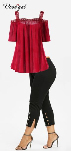 df50aff027e7f Free shipment worldwide, Rosegal plus size Cold Shoulder Blouse - Red Wine  and Plus Size