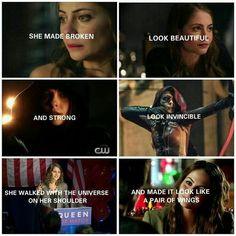 She is beautiful She is invincible She is an angle with wings Speedy Arrow, Roy And Thea, Meaningful Quotes, Inspirational Quotes, Oliver Queen Arrow, Arrow Memes, Dc Comics Series, Arrow Tv Series, Thea Queen