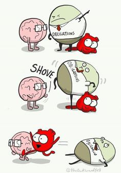 When obligations get in the way of me having fun Akward Yeti, The Awkward Yeti, Funny Cartoons, Funny Comics, Funny Memes, Funny Shit, Funny Stuff, Heart And Brain Comic, Biology Jokes