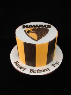 Hawthorn Footy Club logo cake. Chocolate mudcake with chocolate ganache and covered in fondant.