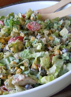 Chipotle Chicken Taco Salad - Trying this one very soon. Nothing's better than a good Taco Salad and this one is healthy too! Food For Thought, Think Food, I Love Food, Good Food, Yummy Food, Tasty, Pollo Chipotle, Mexican Food Recipes, Healthy Recipes