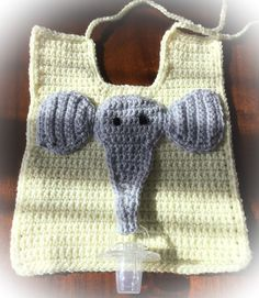 Handmade crocheted elephant pacifier bib. Yellow bib with sweet gray elephant has Velcro to hold pacifier to trunk. Perfect baby gift! by TreasuresByJacquie on Etsy