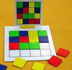 Kan in alle thema. Laat hen een patroon na leggen: wat is het? Hoeveel gele blokken heb je gebruikt, hoeveel rode...?