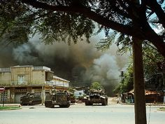 Tanks and Armored Vehicles Forming Barricade