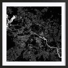 Berlin Black as Framed Poster by Urban Maps | JUNIQE