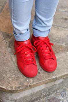 red adidas originals supercolor sneakers