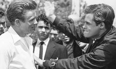 James Dean, Sal Mineo and Corey Allen on the set of Rebel Without a Cause
