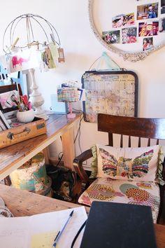A beautiful studio with great repurposed details. Art Room Doors, Kelly Rae Roberts, Home Studio, Studio Spaces, Big Pillows, Soul Shine, Room Inspiration, Living Spaces, Studio Ideas