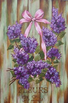 french country cottage chic lilac painting wall by RoyalRococo, $145.00