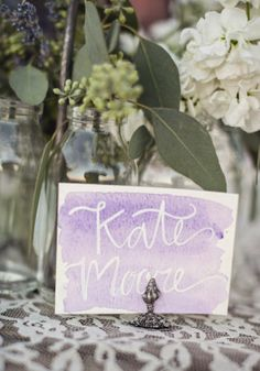 Lavender water colored name card