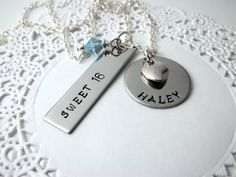Gift idea - hand-stamped Sweet 16 necklace with birthstone :)