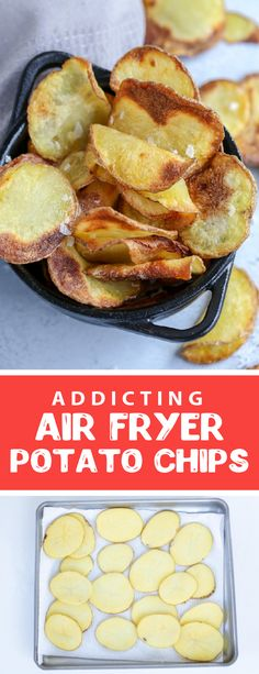 Easy and quick air fryer potato chips make the most delicious, crunchy and addicting snack. These homemade potato chips are the perfect crunchy and salty treat. Air Fryer potato chips are a great make to make snacks in the summer because it doesn't require an oven. #airfryerpotatochips #homemadechips