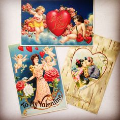 Selection of antique Valentines from 1908. Embossed postcards - mostly made in Germany. True love inspiration