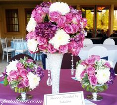 Glamorous Purple with Hanging Crystals by Patalina.com // three pieces, silver and purple wedding, calla lilies, lavender, white