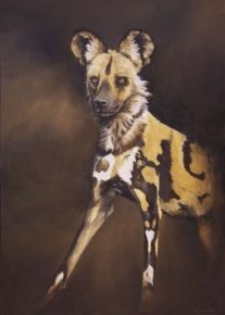 """48. Wild Dog of Laikipia</br>  Oil on Canvas </br> 38 x 27 inches (96.5 x 68.5 cms) </br> £2,750.00</br> <strong> <b><span style=""""color:#8b0000;"""">SOLD</span></b></strong>"""