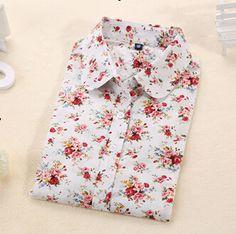 Long Sleeve Blouse Polka Dot Cotton Made Slim Fit Design Blouse Shirt