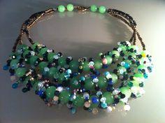 Collier composé de  3 rangs de belles perles de lemon jade (Thaïlande),  pierre semi-précieuses diverses et pâte de verre.   ANEHO Création Necklaces  www.a-neho.com Creations, Jewelry, Beads, Necklaces, Jewlery, Jewerly, Schmuck, Jewels, Jewelery