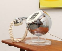 Mid-century modern, space age design, lucite  chrome sphere telephone by Weltron.