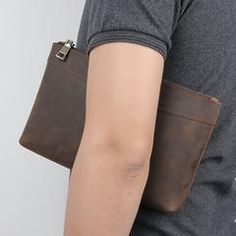 Dark Brown Leather Mens 8 inches Envelope Bag Wristlet Wallet Bag Zipper Clutch Wallet For Men Wristlet Wallet, Card Wallet, Envelope Clutch, Small Shoulder Bag, Dark Brown Leather, Long Wallet, At Least, Zipper, Bags