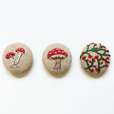 Hand embroidered mushroom & plants button set / Unique fabric covered pins
