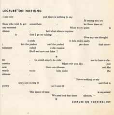 John Cage | Lecture on nothing | 1959