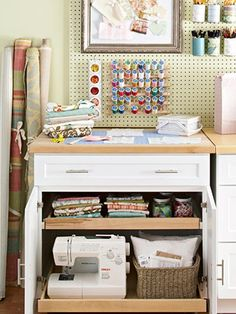 Peg board + pull out shelves under the counter. I don't need it this fancy, but I want this for the Yarn Love dye kitchen