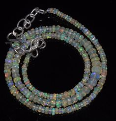 """30 Crts 2 to 5 mm 15"""" Faceted Beads necklace Ethiopian Welo Fire Opal RR159"""