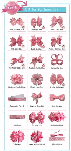 BEST Free Hair Bow Tutorial videos and PDF's http://www.theribbonretreat.com/Catalog/free-hairbow-instructions.aspx