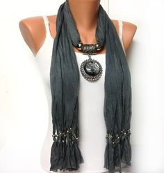 grey jewelry scarf  big pendant