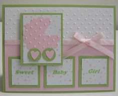 This pink carriage is to welcome a sweet baby girl, but it could easily be blue for a sweet baby boy on this handmade baby card.