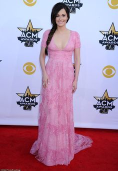 Miranda Lambert at ACM Awards in plunging gown and thigh-high slit #dailymail