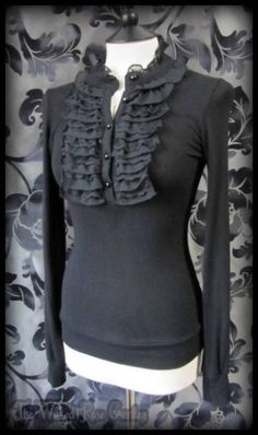 Gothic Victorian Black Knit Lace Ruffle Front High Collar Jumper Top 8 10 Goth | THE WILTED ROSE GARDEN on eBay // Worldwide Shipping Available