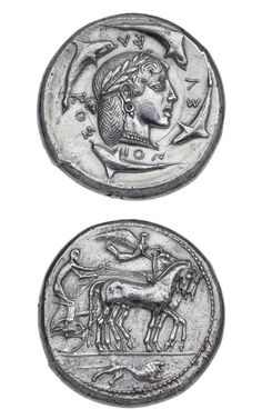 Greek, Dekadrachm of Syracuse, c.470-465 BC (source). On one side is the head of Arethusa surrounded by dolphins, on the other a charioteer driving a quadriga with Nike flying above and a lion below.