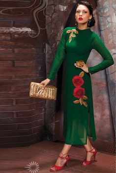 Get a trend setter look on you next weekend party or function by cladding into this marvelous green color party wear designer kurti. This designer kurti is made
