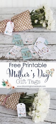 Beautiful Mother's Day Gift Tag free printable | works with any gift | Bloominghomestead