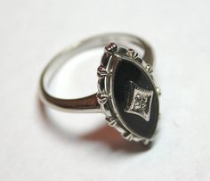 Vintage Art Deco 10K white gold ring with marquise onyx by lbjool, $75.00