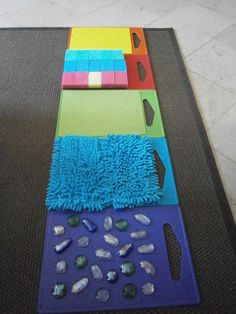 Awesome sensory activity for preschool or toddler kids. Make a sensory walkway!Tap the link to check out great fidgets and sensory toys. Check back often for sales and new items. Happy Hands make Happy People! Motor Activities, Infant Activities, Preschool Activities, Senses Activities, Creative Activities For Kids, 10 Month Old Baby Activities, Tactile Activities, Senses Preschool, Occupational Therapy Activities