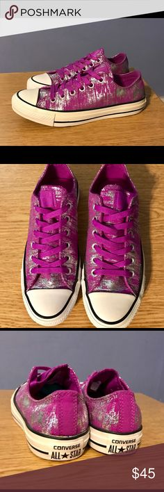 Converse size 7 Women's Converse size 7. Worn once, excellent like new condition. Pink and silver. Converse Shoes Sneakers
