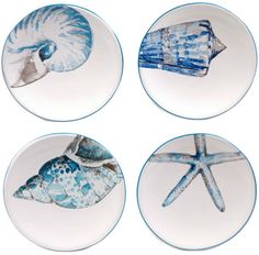 Certified International by Lisa Audit Sea Finds Set of 4 Canape Plates Pottery Painting Designs, Paint Designs, Ceramic Plates, Ceramic Pottery, Beach Bedding, Plate Design, Ceramic Painting, Stone Painting, Plates On Wall
