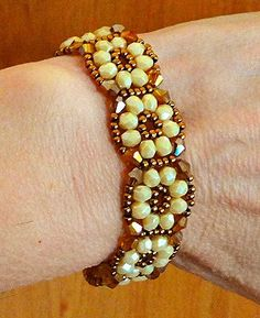Linda's Crafty Inspirations: Bracelet of the Day: Crystal Tile Bracelet - Cream & Topaz