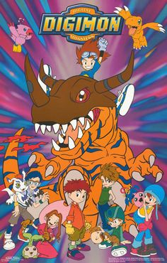 Digimon Anime Cast Tai and Friends 1999 Cartoon Poster 22x34 (Step-parents doing renovation upon their house. The burnt black hinges resembled Digi-Devices a bit with my imagination.)