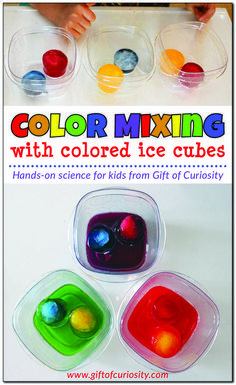 Color mixing activity using colored ice cubes to show children how the three primary colors of magenta (red), cyan (blue), and yellow mix to make the three secondary colors of orange, green, and purple. Great hands-on science for kids! Perfect for prescho Kindergarten Colors, Preschool Colors, Kindergarten Lessons, Preschool Activities, Kindergarten Science Centers, Circle Time Ideas For Preschool, Science Center Preschool, Colour Activities, Science Activities For Toddlers
