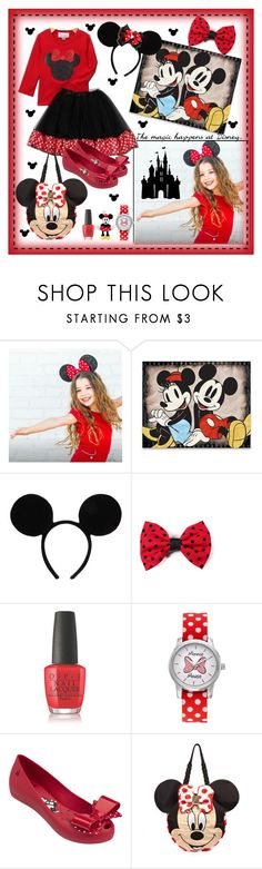 """Mickey/Minnie DisneyLand Girl's Outfit (For Contest)"" by blondemommy ❤ liked on Polyvore featuring OPI, Disney, Melissa, Irregular Choice and Wall Pops!"